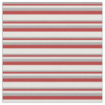 [ Thumbnail: Dark Gray, Red, and White Stripes/Lines Pattern Fabric ]
