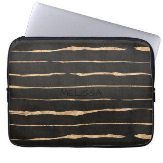 Dark-Gray & Rose Color Gold Pattern Computer Sleeve