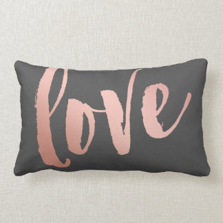 Dark Gray & Rose Gold Love Lumbar Pillow