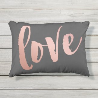 Dark Gray & Rose Gold Love Outdoor Pillow