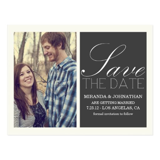 Dark Gray Script Photo Save The Date Post Cards