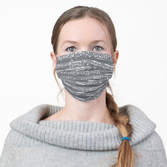 Dark Gray Sheet Music Musical Notes Cloth Face Mask