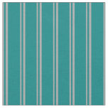 [ Thumbnail: Dark Gray & Teal Striped/Lined Pattern Fabric ]