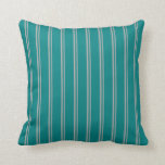 [ Thumbnail: Dark Gray & Teal Striped/Lined Pattern Pillow ]