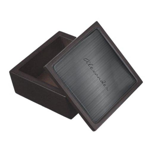 Dark Gray Tones Textured Metallic Look-Monogram Premium Gift Box