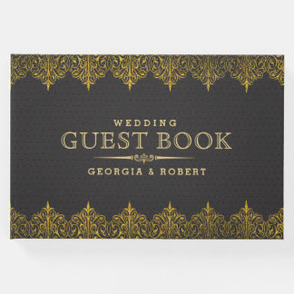 Dark Gray Vintage Leather Gold Frame Guest Book
