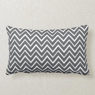 Dark gray whimsical zigzag chevron pattern throw pillow