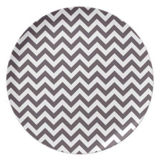 Dark Gray White Chevron Pattern Plate
