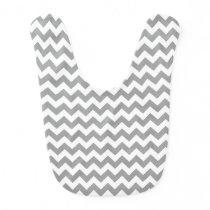 Dark Gray White Chevron Zig-Zag Pattern Baby Bib