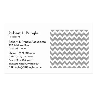 Dark Gray White Chevron Zig-Zag Pattern Double-Sided Standard Business Cards (Pack Of 100)