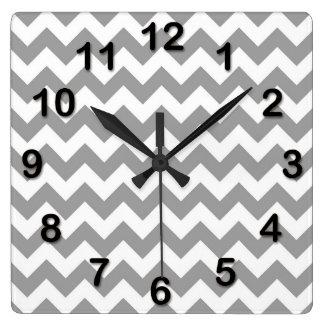 Dark Gray White Chevron Zig-Zag Pattern Square Wallclock