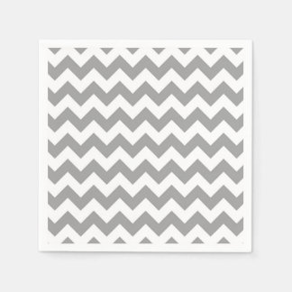 Dark Gray White Chevron Zig-Zag Pattern Napkin