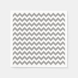 Dark Gray White Chevron Zig-Zag Pattern Paper Napkin
