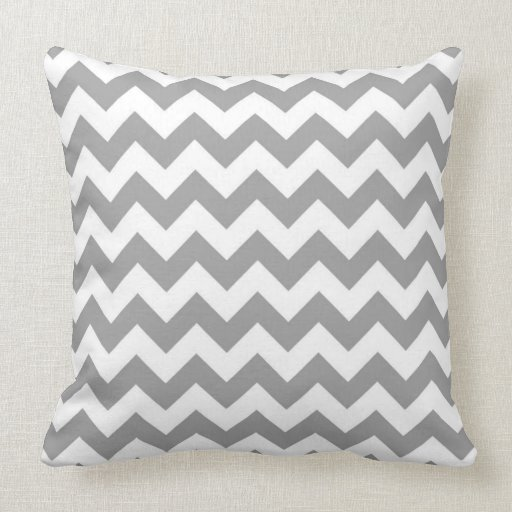 Dark Gray White Chevron Zig-Zag Pattern Throw Pillow Zazzle