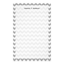 Dark Gray White Chevron Zig-Zag Pattern Stationery