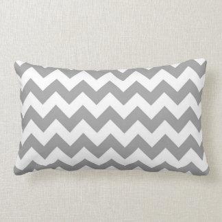 Dark Gray White Chevron Zig-Zag Pattern Throw Pillow