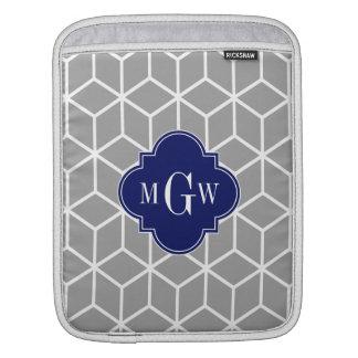 Dark Gray White Cubes, Navy 3 Initial Monogram Sleeve For iPads