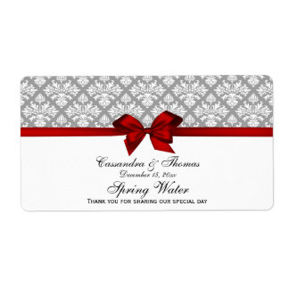 Dark Gray White Damask Water Label With Red Bow