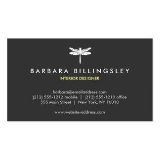 Dark Gray/White Dragonfly Logo Business Card