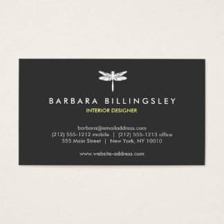 Dark Gray/White Dragonfly Logo Business Card