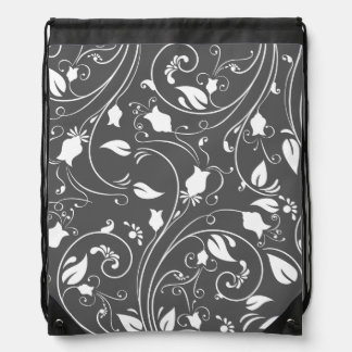 Dark Gray, White Floral Swirls; Flowers Cinch Bags
