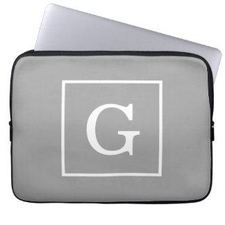 Dark Gray White Framed Initial Monogram Computer Sleeve