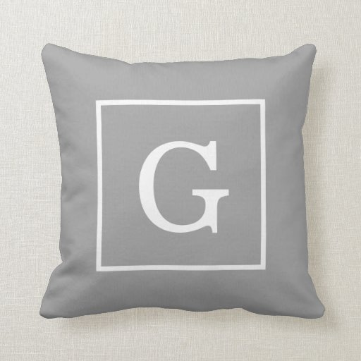 Dark Gray White Framed Initial Monogram Throw Pillow