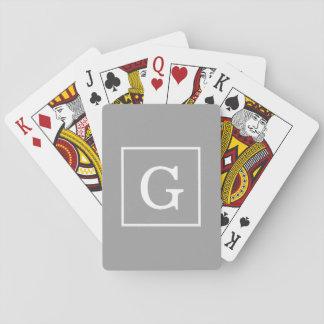 Dark Gray White Framed Initial Monogram Playing Cards