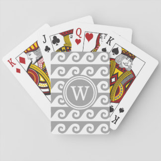 Dark Gray White GK Waves 2x1I Dark Gray Round Playing Cards