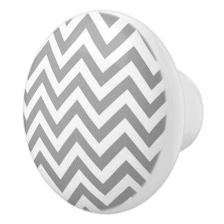 Dark Gray White Large Chevron ZigZag Pattern Ceramic Knob
