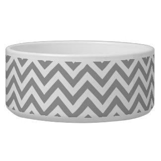 Dark Gray White Large Chevron ZigZag Pattern Dog Bowls