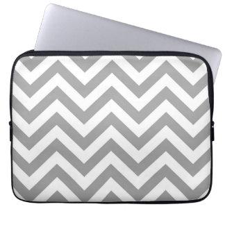 Dark Gray White Large Chevron ZigZag Pattern Laptop Sleeve