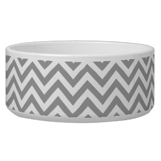 Dark Gray White Large Chevron ZigZag Pattern Dog Bowls