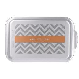 Dark Gray White LG Chevron Pumpkin Name Monogram Cake Pan