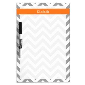 Dark Gray White LG Chevron Pumpkin Name Monogram Dry Erase Board