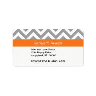 Dark Gray White LG Chevron Pumpkin Name Monogram Label