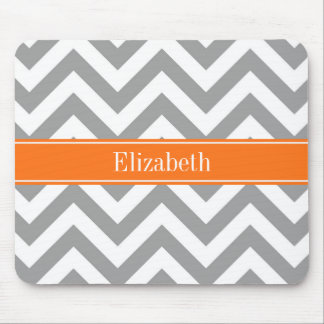 Dark Gray White LG Chevron Pumpkin Name Monogram Mouse Pad