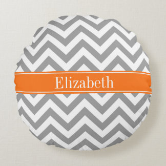 Dark Gray White LG Chevron Pumpkin Name Monogram Round Pillow