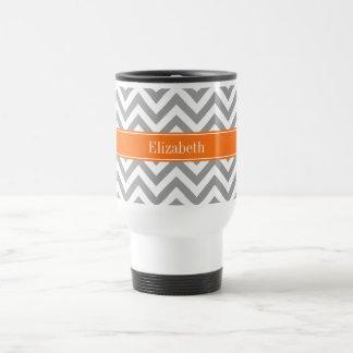 Dark Gray White LG Chevron Pumpkin Name Monogram Travel Mug