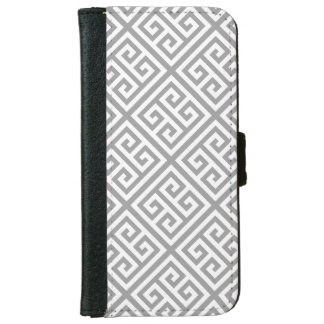 Dark Gray White Med Greek Key Diag T Pattern #1 Wallet Phone Case For iPhone 6/6s