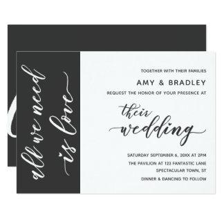 Dark Gray & White Modern Script Wedding Card