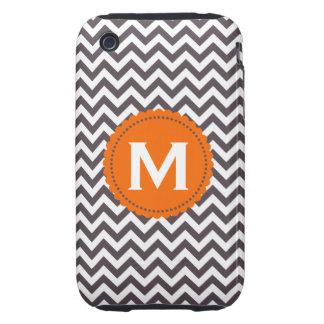Dark Gray White Monogram Chevron Pattern iPhone 3 Tough Cases
