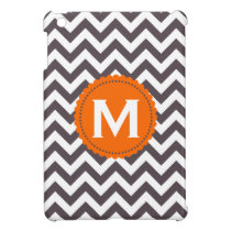 Dark Gray White Monogram Chevron Pattern iPad Mini Cover
