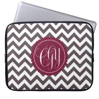 Dark Gray White Monogram Chevron Pattern Laptop Sleeves