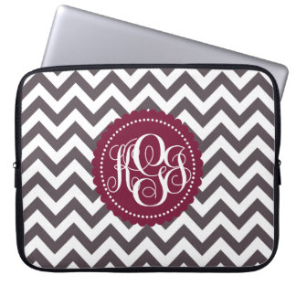 Dark Gray White Monogram Chevron Pattern Laptop Sleeve