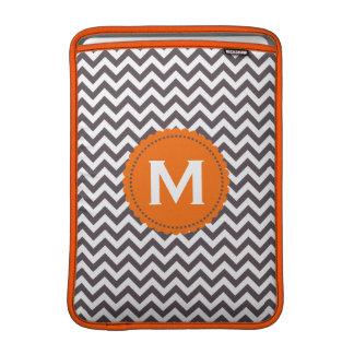 Dark Gray White Monogram Chevron Pattern MacBook Sleeve
