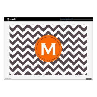 Dark Gray White Monogram Chevron Pattern Laptop Skins