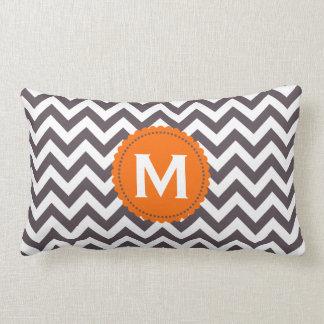 Dark Gray White Monogram Chevron Pattern Throw Pillow