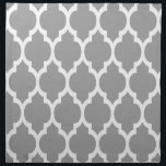 "Dark Gray White Moroccan Quatrefoil Pattern #4 Napkin<br><div class=""desc"">Dark Gray and White Moroccan Quatrefoil Lattice Pattern #4  