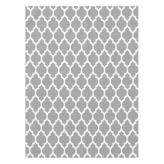 Dark Gray White Moroccan Quatrefoil Pattern #4 Tablecloth